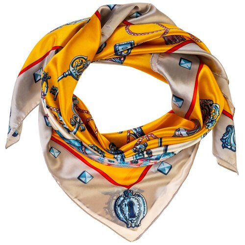 Шелковый платок на шею/Платок шелковый на голову/женский/Шейный шелковый платок/стильный/модный /21kdgPL903028-3vr желтый,голубой/Vittorio Richi/80% шелк,20% полиэстер/90x90