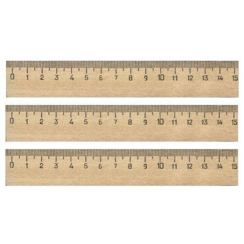 Купить Линейка деревянная 15см 3шт/уп 4 штук, №1 School, Чертежные инструменты