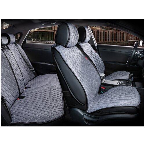 Комплект накидок на автомобильные сиденья CarFashion CROWN серый/черный/серый