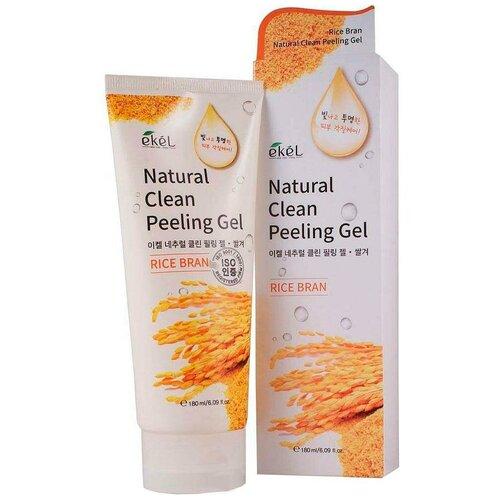 Ekel Пилинг-скатка Natural Clean Peeling Gel Rice Bran с экстрактом коричневого риса 180 мл jigott гель premium facial rice bran peeling gel мягкий с рисовыми отрубями 180 мл