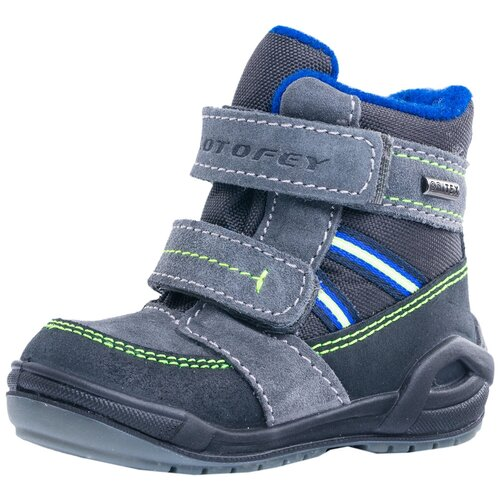 Фото - Ботинки КОТОФЕЙ размер 23, 41 серый/салатовый ботинки для мальчика котофей цвет синий салатовый 554047 41 размер 30