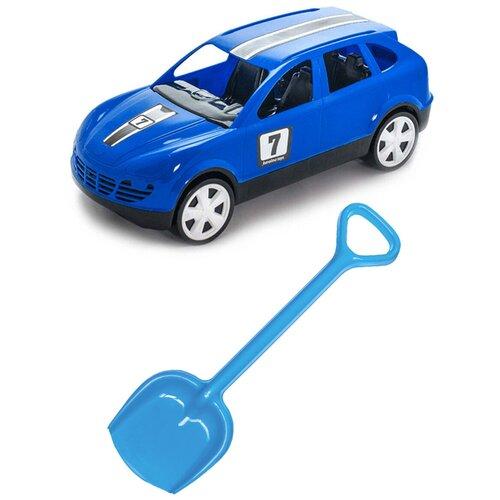 Купить Детский игровой набор для песочницы: Детский автомобиль Кроссовер + Лопатка 50 см. синяя, КАРОЛИНА ТОЙЗ, Karolina toys, Наборы в песочницу