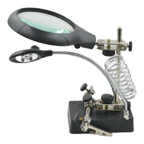 Фото - Настольная лупа с подсветкой, держателем для плат и зажимом для пайки лампа лупа daylight для рукоделия напольно настольная en1091