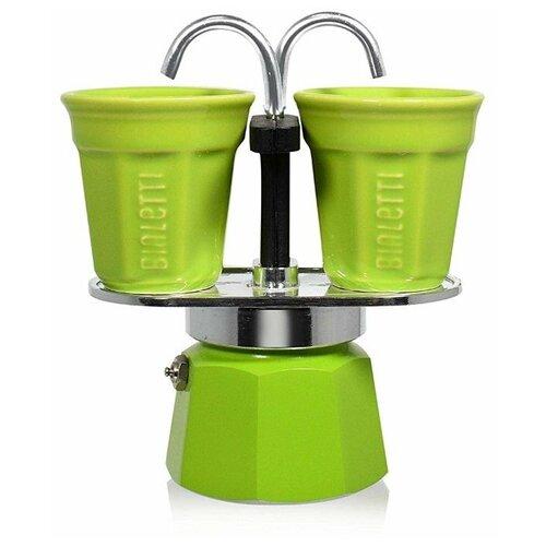 Гейзерная кофеварка Bialetti Mini Express (2 чашки), зелeный