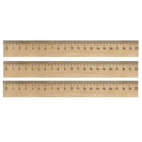 Купить Линейка деревянная 20см 3шт/уп 4 штук, №1 School, Чертежные инструменты