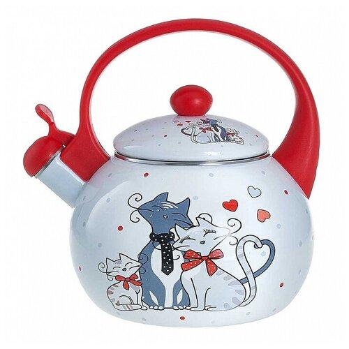 Фото - EM-25101/70 Чайник эмалированный со свистком Влюбленные коты  2,5 л, чайник эмалированный со свистком 2 5 л metrot таково кухня 115432