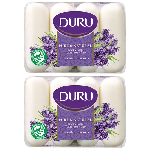 Крем мыло Duru Pure&Natural с ароматом лаванды 85 г х 4 шт., 2 упаковки