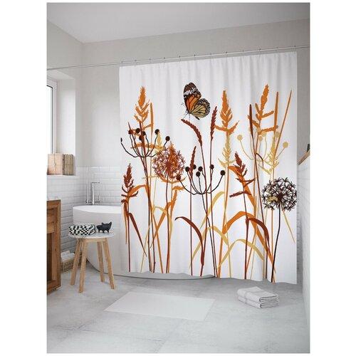Фото - Штора для ванной JoyArty Бабочка в дикой траве 180х200 (sc-7052) штора для ванной joyarty прыгучая бабочка 180х200 sc 16368