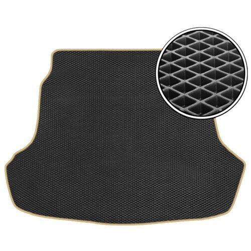 Автомобильный коврик в багажник ЕВА Kia K5 2020 - н.в (багажник) (бежевый кант) ViceCar