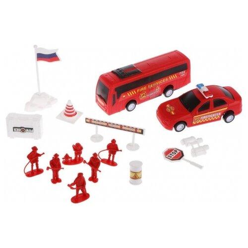 Купить Игровой набор Пожарные, техника 2 шт., фигурки 6 шт., аксессуары 7 шт., пакет, Наша игрушка, Игровые наборы и фигурки