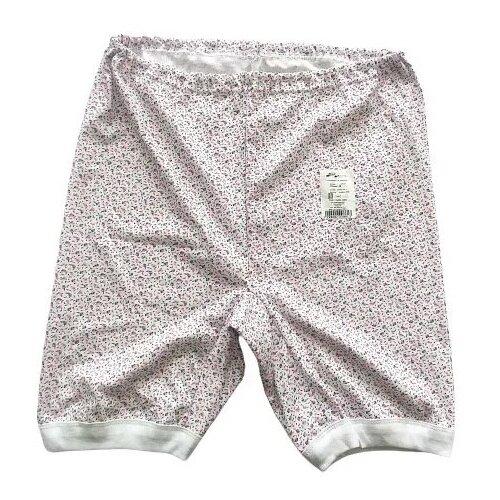 Русский стиль Трусы панталоны длинные высокой посадки с принтом, размер 48, белый/цветочный принт