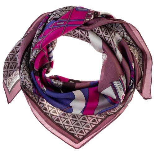 Шелковый платок на шею/Платок шелковый на голову/женский/Шейный шелковый платок/стильный/модный /21kdg70951101-22vr фиолетовый,серый/Vittorio Richi/80% шелк,20% полиэстер/70x70