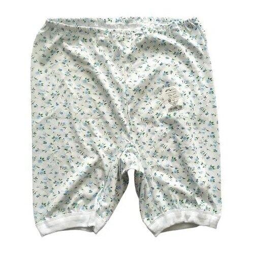Русский стиль Трусы панталоны длинные высокой посадки с принтом, размер 50, белый/голубой