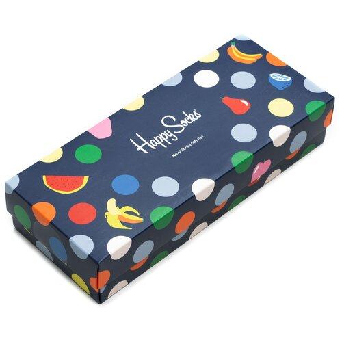 Комплект носков Happy Socks из четырёх пар с различными узорами в подарочной упаковке Happy Socks 4 Pair Pack - Navy Fruit 36-40