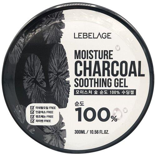 Гель для тела Lebelage увлажняющий успокаивающий с углем Moisture Charcoal 100% Soothing Gel, 300 мл гель для тела lebelage moisture avocado 100% soothing gel универсальный с экстрактом авокадо 300 мл