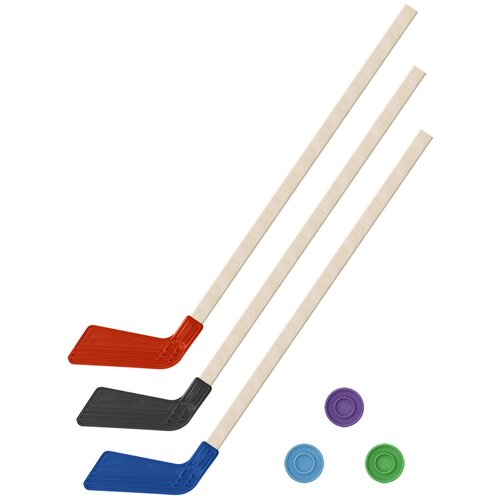 Детский хоккейный набор зима,лето 3 в 1/ Клюшки хоккейных 80 см красная, черная, синяя + 3 шайбы, Задира-плюс