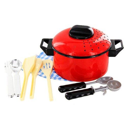Фото - Набор посуды ABtoys Помогаю маме PT-00113 (3332) красный/бежевый набор посуды для пиццы abtoys помогаю маме в ассортименте pt 00363