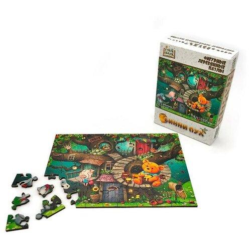 Купить Пазл Нескучные игры Страна сказок Винни Пух 80 деталей, фигурный, деревянный, Пазлы