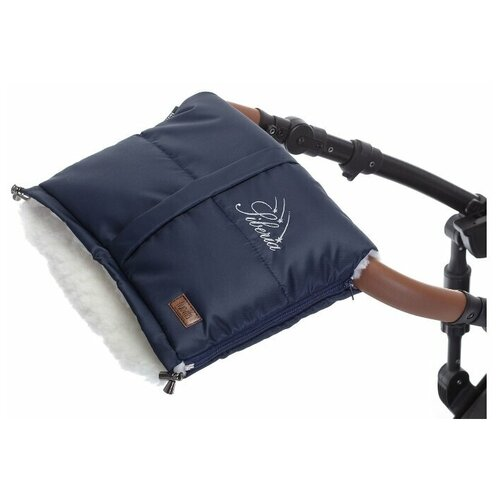 Муфта меховая для коляски Nuovita Siberia Bianco (Blu scuro/Белый, Темно-синий)