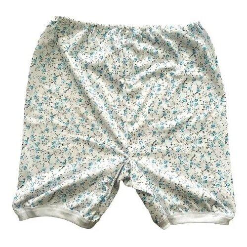 Русский стиль Трусы панталоны длинные высокой посадки с принтом, размер 52, белый/голубой