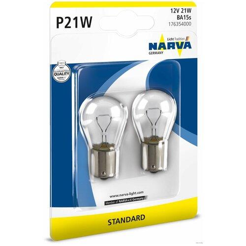 Фото - Лампа автомобильная накаливания Narva STANDARD 17635 P21W 12V 21W 2 шт. лампа автомобильная накаливания bosch pure light 1987301017 p21w 12v 21w 2 шт