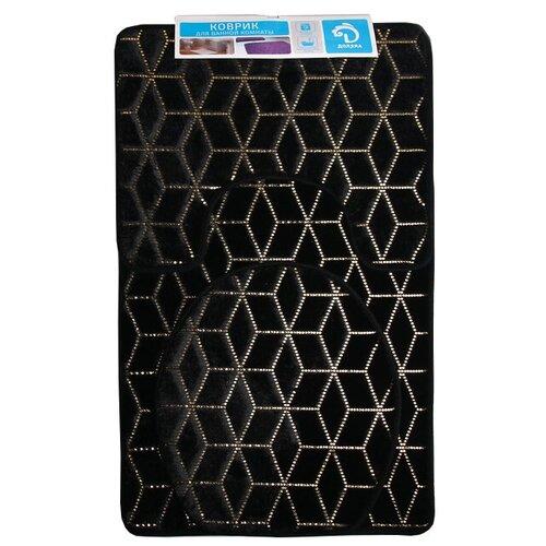 Комплект ковриков Доляна Геометрик 35х40 см, 40х50 см, 50х80 см черный