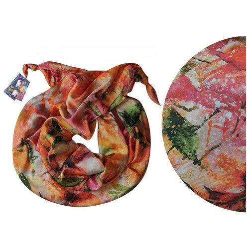 Двойной шарф-долька Оланж Ассорти серия Апрель с узелками dolka-шелк-z-180