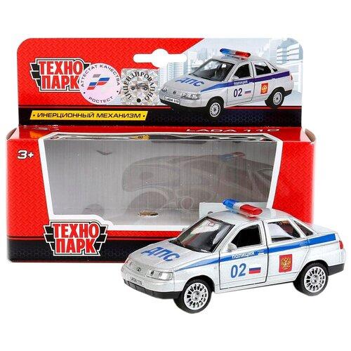 Купить Легковой автомобиль ТЕХНОПАРК Lada 2110 Полиция (SB-16-44-P-WB) 1:34, 12 см, белый, Машинки и техника