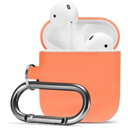 Чехол для наушников Apple AirPods, AirPods 2 с карабином / Чехол на кейс Эпл ЭирПодс 2 с поддержкой беспроводной зарядки / Силиконовый чехол для беспроводных блютуз наушников (Papaya)