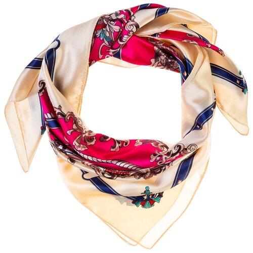 Шелковый платок на шею/Платок шелковый на голову/женский/Шейный шелковый платок/стильный/модный /21kdgPL903022-4vr белый,розовый/Vittorio Richi/80% шелк,20% полиэстер/90x90