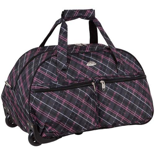 Дорожная сумка на колесах П05.2 розовая клетка