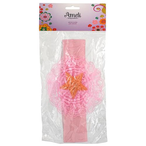 Фото - Повязка Ameli с цветком (3113070) розовый/золотистый повязка для волос ameli сверкающая