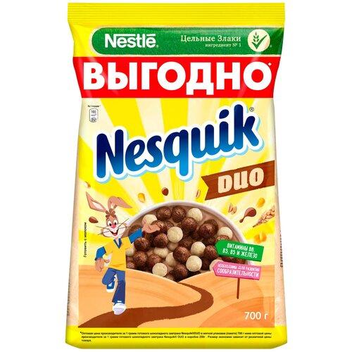 Фото - Готовый завтрак Nesquik DUO шоколадные шарики, пакет, 700 г готовый завтрак хрутка шоколадные колечки пакет 210 г
