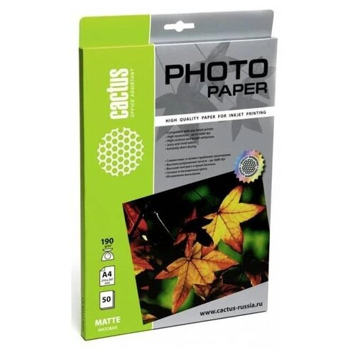 Фото - Бумага cactus А4 CS-MA419050 190 г/м² 50 лист., белый бумага cactus 914 мм cs lfptr 91445 90 г м² 45 м белый