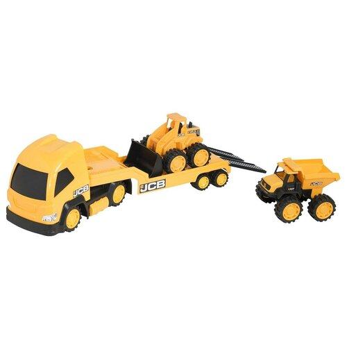 Фото - Набор техники HTI Мегаперевозчик JCB (1416075) 1:32, 47 см, желтый погрузчик hti jcb 1416620 желтый