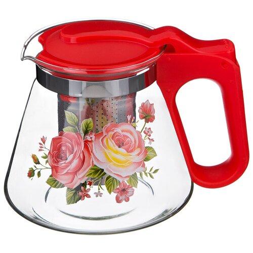 Чайник заварочный Agness 885-050 с фильтром из нержавеющей стали 700 мл, красный