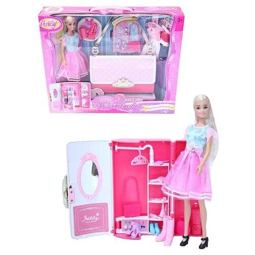 Набор игровой Anlily с гардеробом, одеждой и аксессуарами в сумочке, 99046 кукла anlily с одеждой 200170509