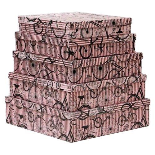 Набор подарочных коробок Мишель Фокс Моноциклы на розовом №14, 5 шт. розовый по цене 1 236