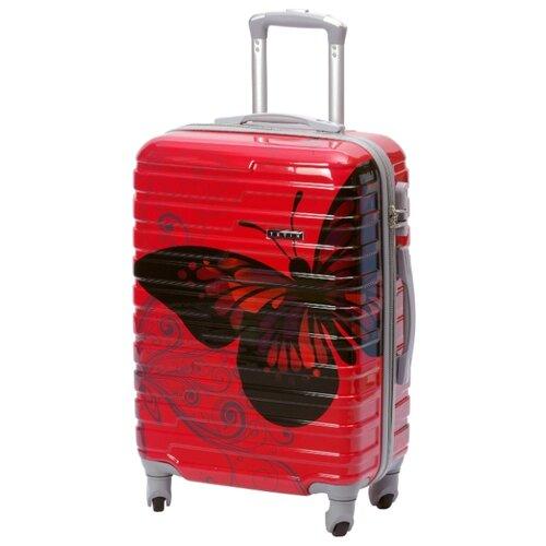 Чемодан TEVIN из поликарбоната с принтом Бабочка для ручной клади на колесиках S 37 л, 0048