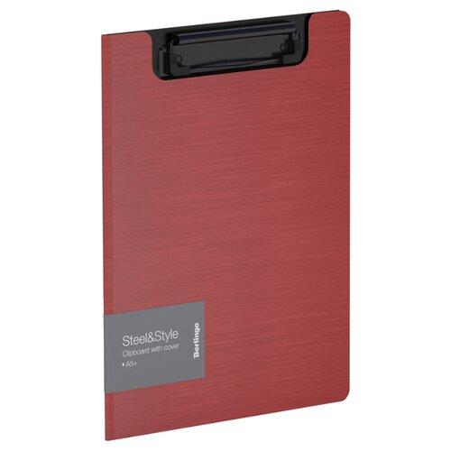 Купить Berlingo Папка-планшет с зажимом Steel&Style A5+, пластик красный, Файлы и папки