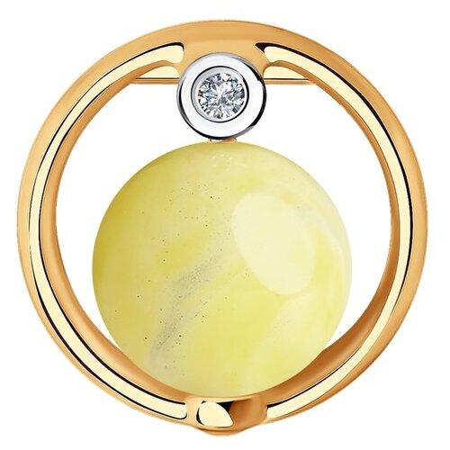 SOKOLOV Подвеска из золота с родированием с бриллиантом и янтарём 6033016