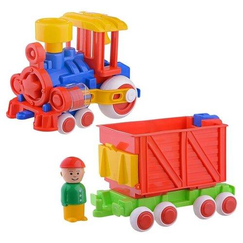 Каталка-игрушка Форма Паровозик Ромашка с вагоном (С-118-Ф) синий/красный/желтый