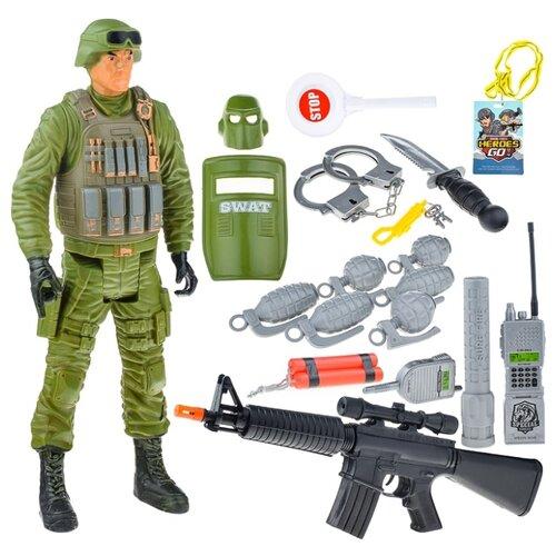 Набор военного Oubaoloon с фигуркой солдата, с автоматом, рацией и аксессуарами, в пакете (88847)