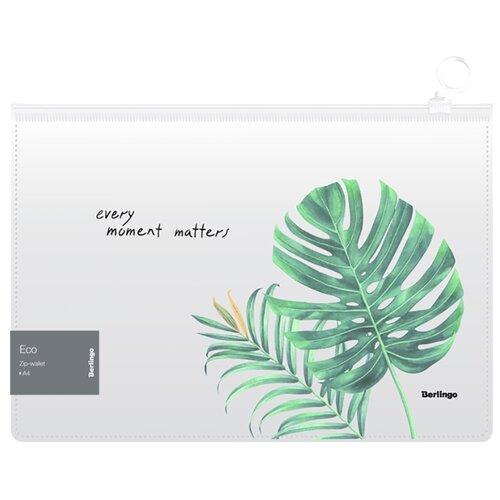 Купить Berlingo Папка-конверт на молнии Eco А4, 180 мкм, пластик, 12 шт белый/зеленый, Файлы и папки