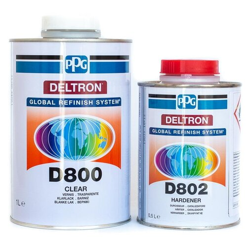 Комплект (автомобильный лак, разбавитель для лака) Ppg D800 (1 л) + отвердитель D802 (0.5 л)