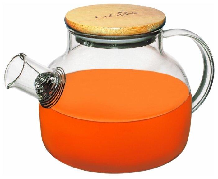 Купить Чайник заварочный CnGlass стеклянный бочонок с бамбуковой крышкой 900 мл H9 по низкой цене с доставкой из Яндекс.Маркета