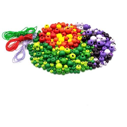 Купить Набор деревянных бусин со шнуром, красно-фиолетово-зеленый микс, 6-12мм, 270шт, Астра, Astra & Craft, Фурнитура для украшений