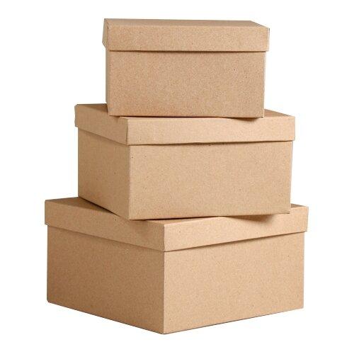 Набор подарочных коробок Мишель Фокс Крафт однотонный №75, 3 шт. бежевый по цене 569