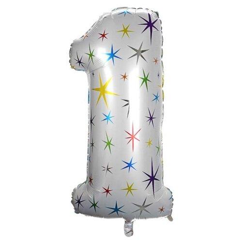 Фото - Шар фольгированный Страна Карнавалия 40 Цифра 1, разноцветные звезды (4640234) воздушный шар страна карнавалия цифра 5 сиреневый