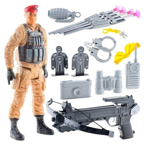 Набор военного Oubaoloon с арбалетом, рацией, фигуркой военного и аксессуарами, в пакете (88870)